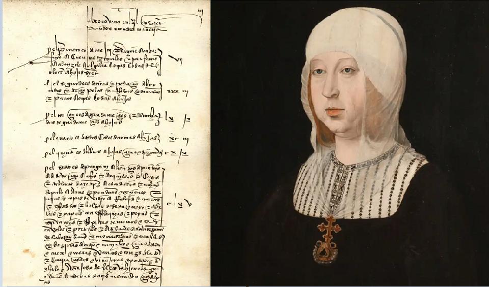 لوحة لإيزابيلا كما كانت في أواخر عمرها، وإحدى الوثائق التي عثروا عليها