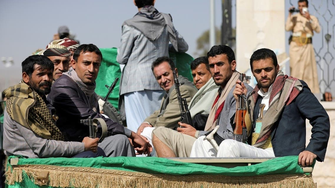 Armed Houthi fighters in Sanaa, Yemen Feb. 20, 2021. (Reuters)