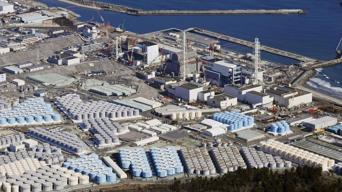 An aerial view shows the storage tanks for treated water at the tsunami-crippled Fukushima Daiichi nuclear power plant in Okuma town, Fukushima prefecture, Japan February 13, 2021, in this photo taken by Kyodo. (Reuters)