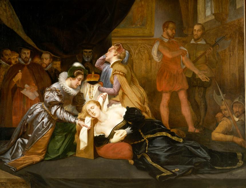 رسم تخيلي يجسد الاستعداد لإعدام ماري ستيوارت