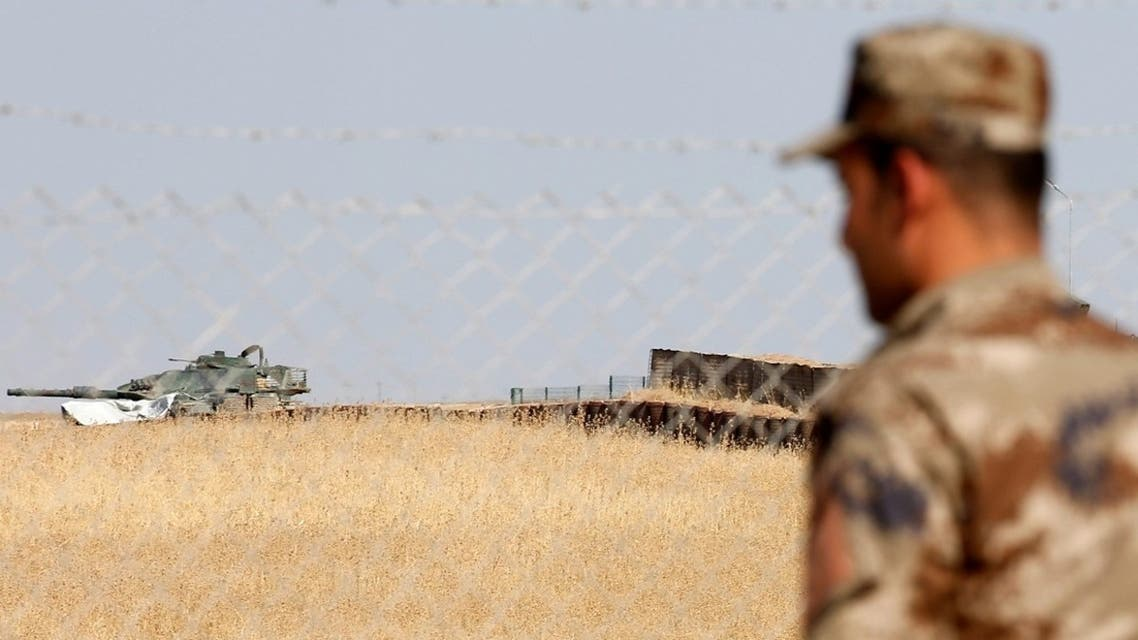A Turkish armoured vehicle is seen at an observation post in Bashiqa, October 6, 2016. (Reuters)