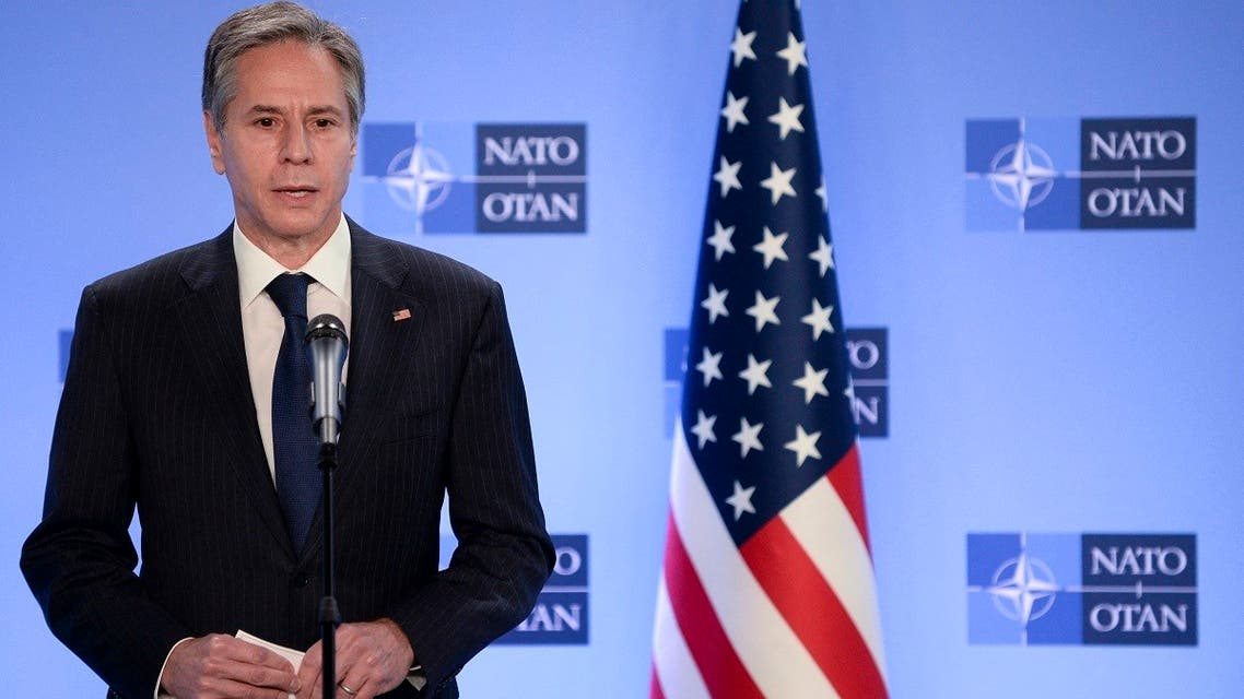 Secretary of State Antony Blinken speaks from Belgium, April 14, 2021. (AFP)