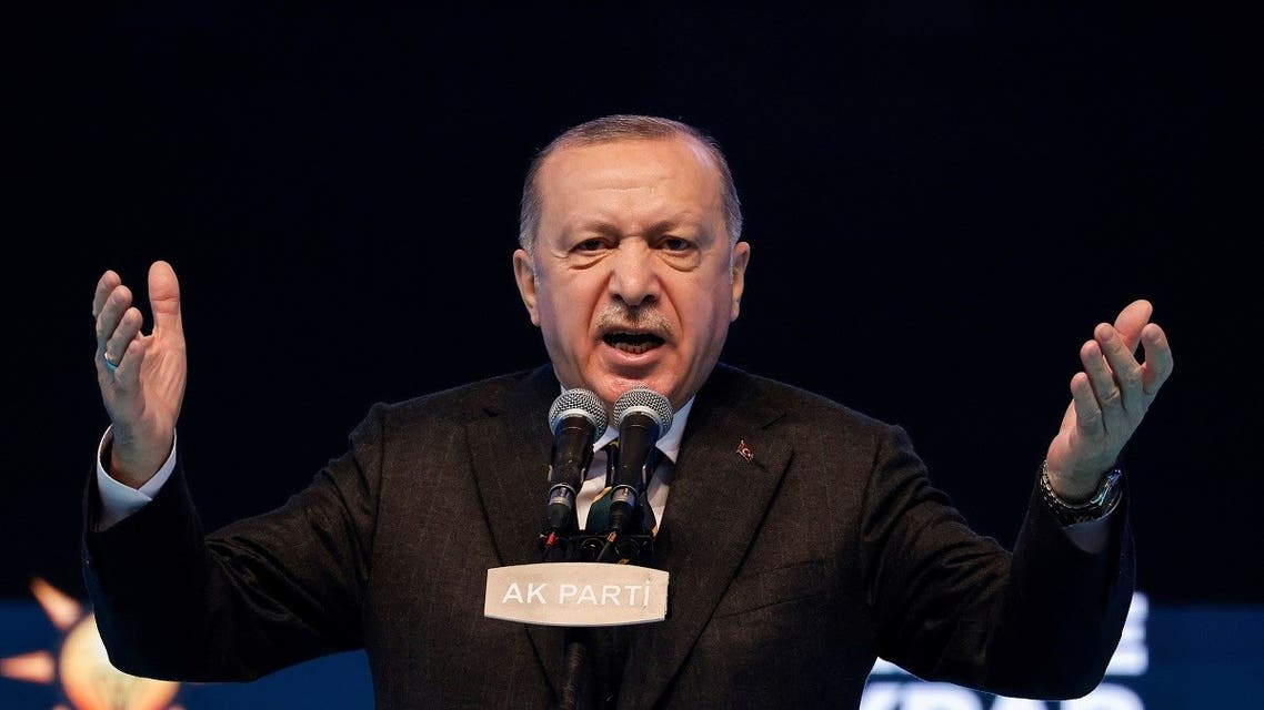 Turkish President Tayyip Erdogan addresses his supporters during the Grand Congress in Ankara, March 24, 2021. (Reuters)
