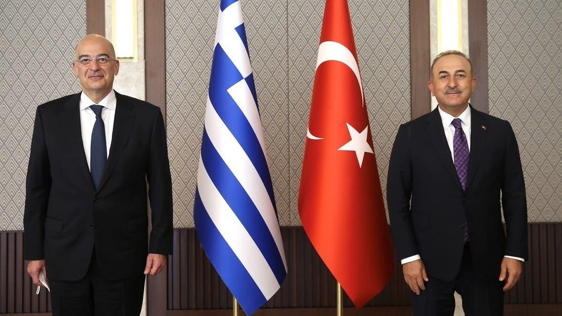 Turkish Foreign Minister Mevlut Cavusoglu meets with his Greek counterpart Nikos Dendias in Ankara, Turkey April 15, 2021. (Reuters)