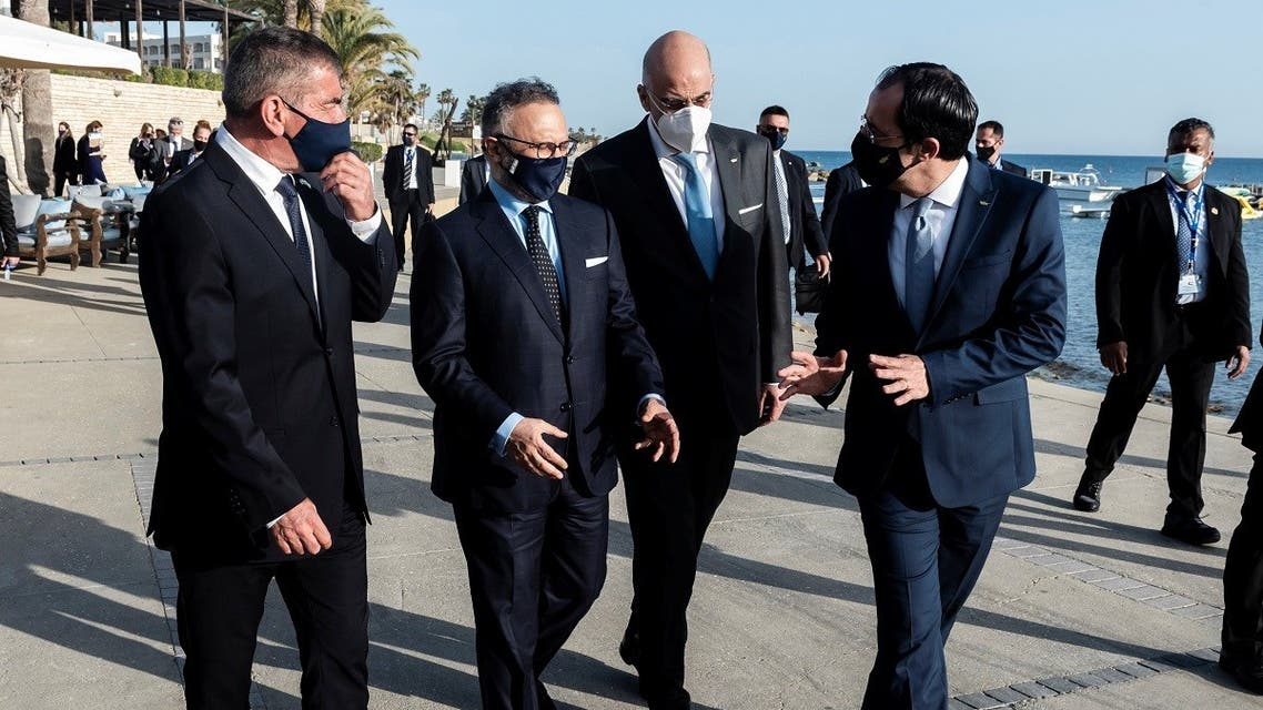 Israeli FM Gabi Ashkenazi, Anwar Gargash, diplomatic adviser of UAE's President, Greece's FM Nikos Dendias and Cypriot FM Nikos Christodoulides in Paphos, April 16, 2021. (Reuters)