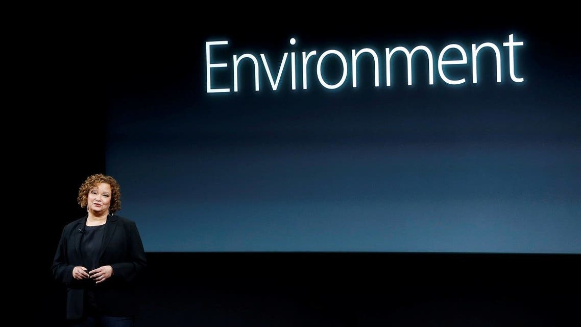Lisa Jackson, Apple vice president for Environment, Policy and Social Initiatives, speaks during an event at Apple headquarters in Cupertino, California, on March 21, 2016. (Reuters)