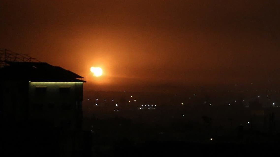 A picture taken in Rafah in the southern Gaza Strip, on April 16, 2021, shows an explosion following an airstrike by Israel. (AFP)