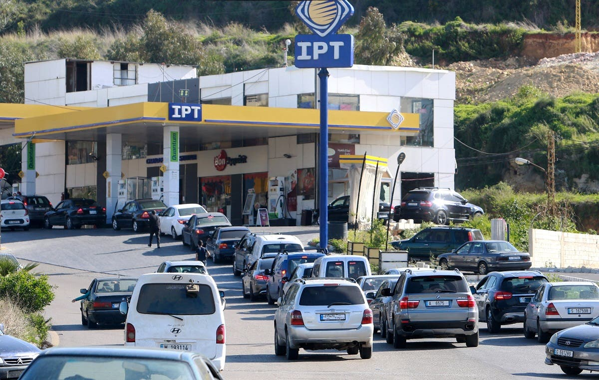 Vehicles queue for fuel at a gas station in the village of Msayleh, Lebanon March 16, 2021. (Reuters)