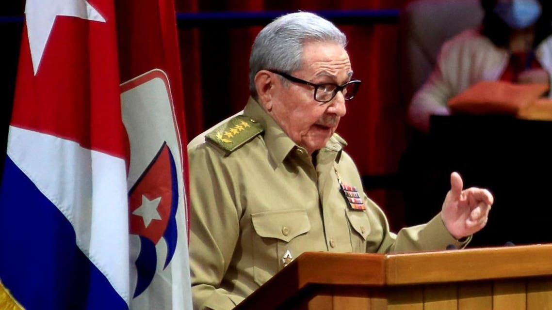 Picture released by Cuban News Agency (ACN) of Cuban First Secretary of the Communist Party Raul Castro speaking during the opening session of the 8th Congress of the Cuban Communist Party at the Convention Palace in Havana, on April 16, 2021. (AFP)