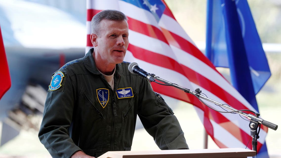 General Tod Wolters, then commander of U.S. Air Forces in Europe, speaks during NATO Baltic air policing mission takeover ceremony in Siauliai, Lithuania August 30, 2017. (Reuters)