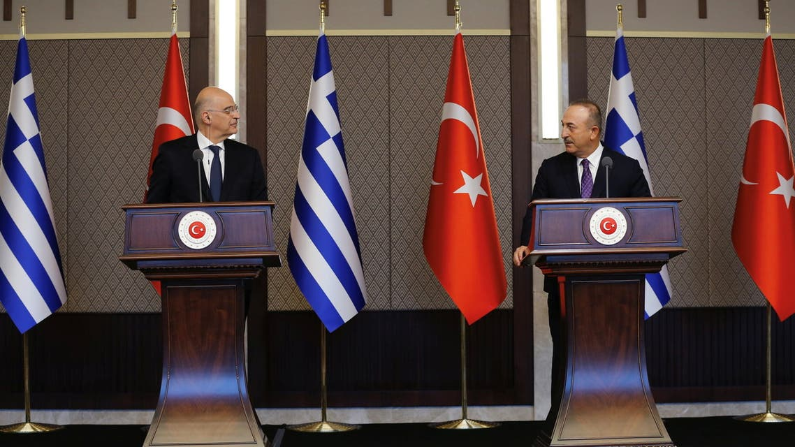 Turkish Foreign Minister Mevlut Cavusoglu and his Greek counterpart Nikos Dendias hold a news conference in Ankara, Turkey April 15, 2021. (Reuters)