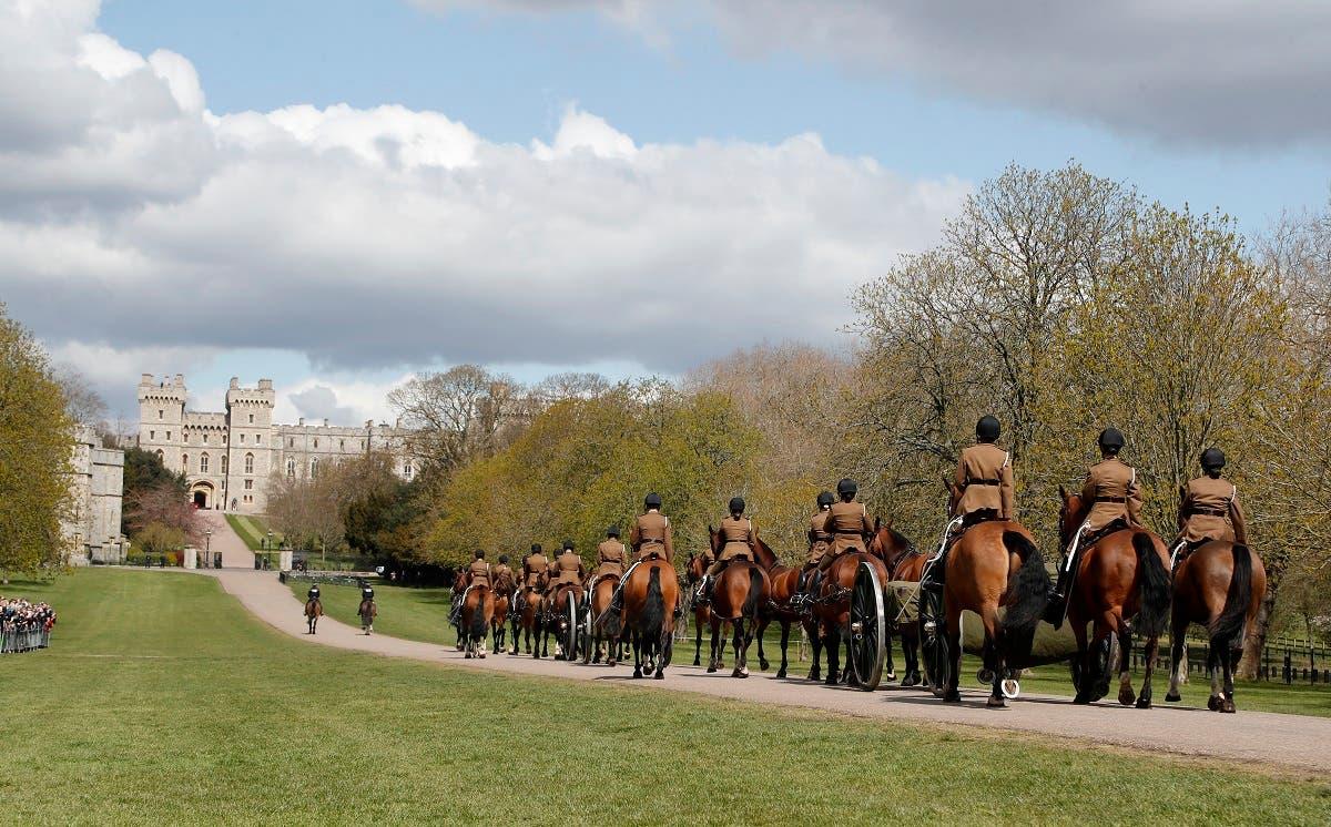 King's Troop Royal Horse Artillery rehearses on the Long Walk towards Windsor Castle in Windsor, on April 15, 2021. (AP)