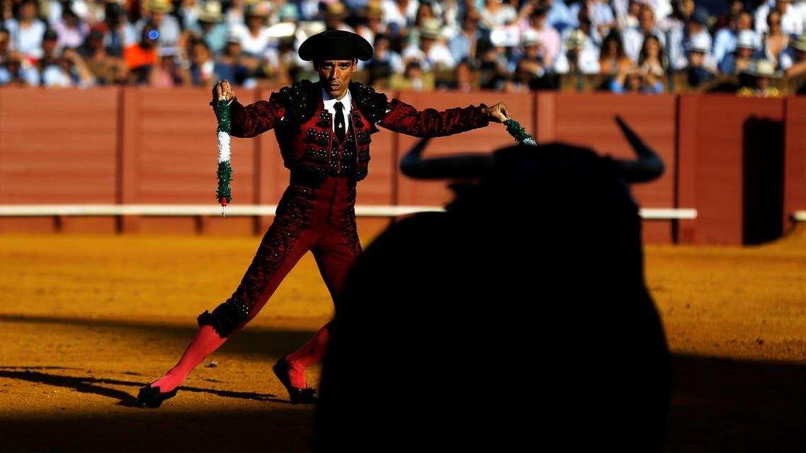 Spanish banderillero Angel Gomez prepares to drive banderillas into a bull during a bullfight at The Maestranza bullring in the Andalusian capital of Seville, southern Spain May 10, 2019. (Reuters)