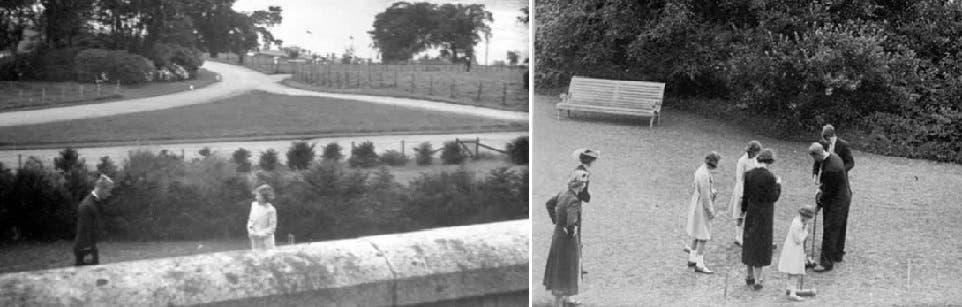 في حديقة الكلية الحربية، تعرف أمير اليونان والدنمارك الى من كان اسمها الأميرة إليزابيث فقط، والصورة الثانية كاملة كما في الأصل