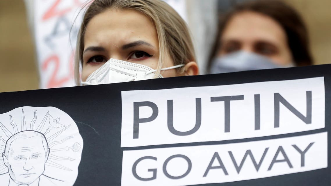 Demonstrators attend a rally in support of jailed Russian opposition leader Alexei Navalny in Prague, Czech Republic, January 23, 2021. (Reuters)