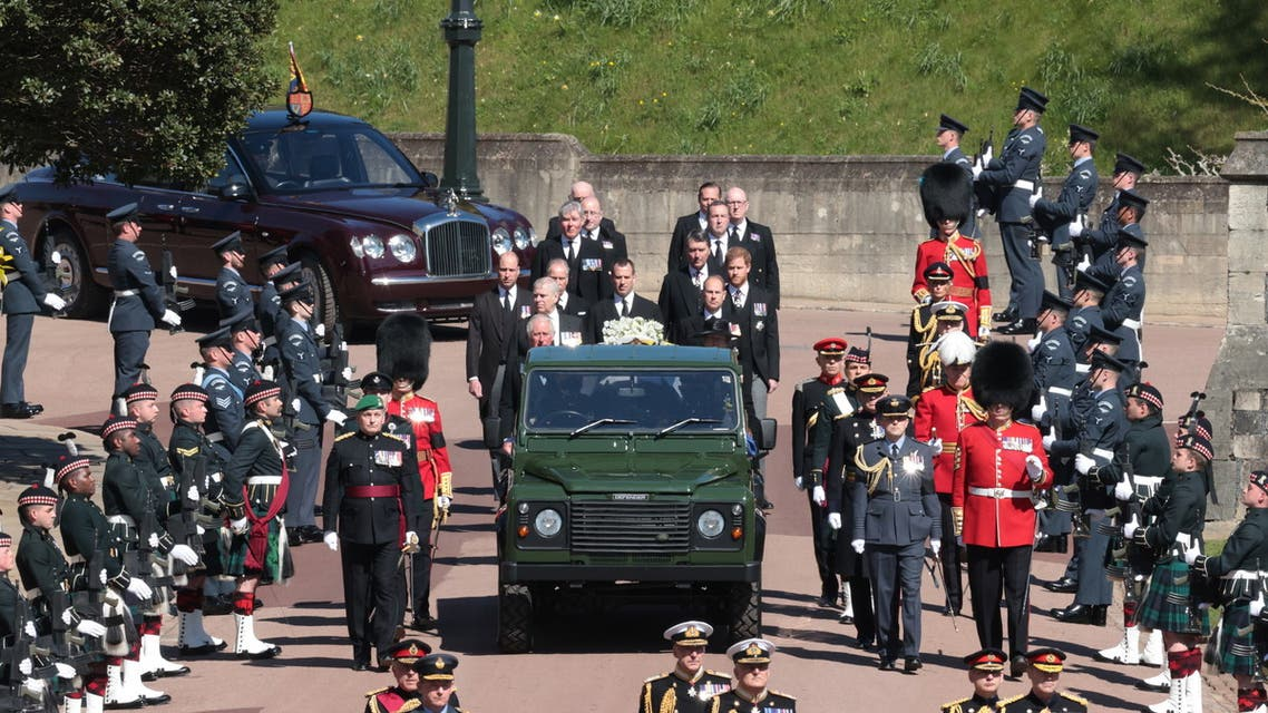 Members of the Royal Family follow the hearse, a specially modified Land Rover, during the funeral of Britain's Prince Philip, husband of Queen Elizabeth, who died at the age of 99, on the grounds of Windsor Castle in Windsor, Britain, April 17, 2021. (Reuters)