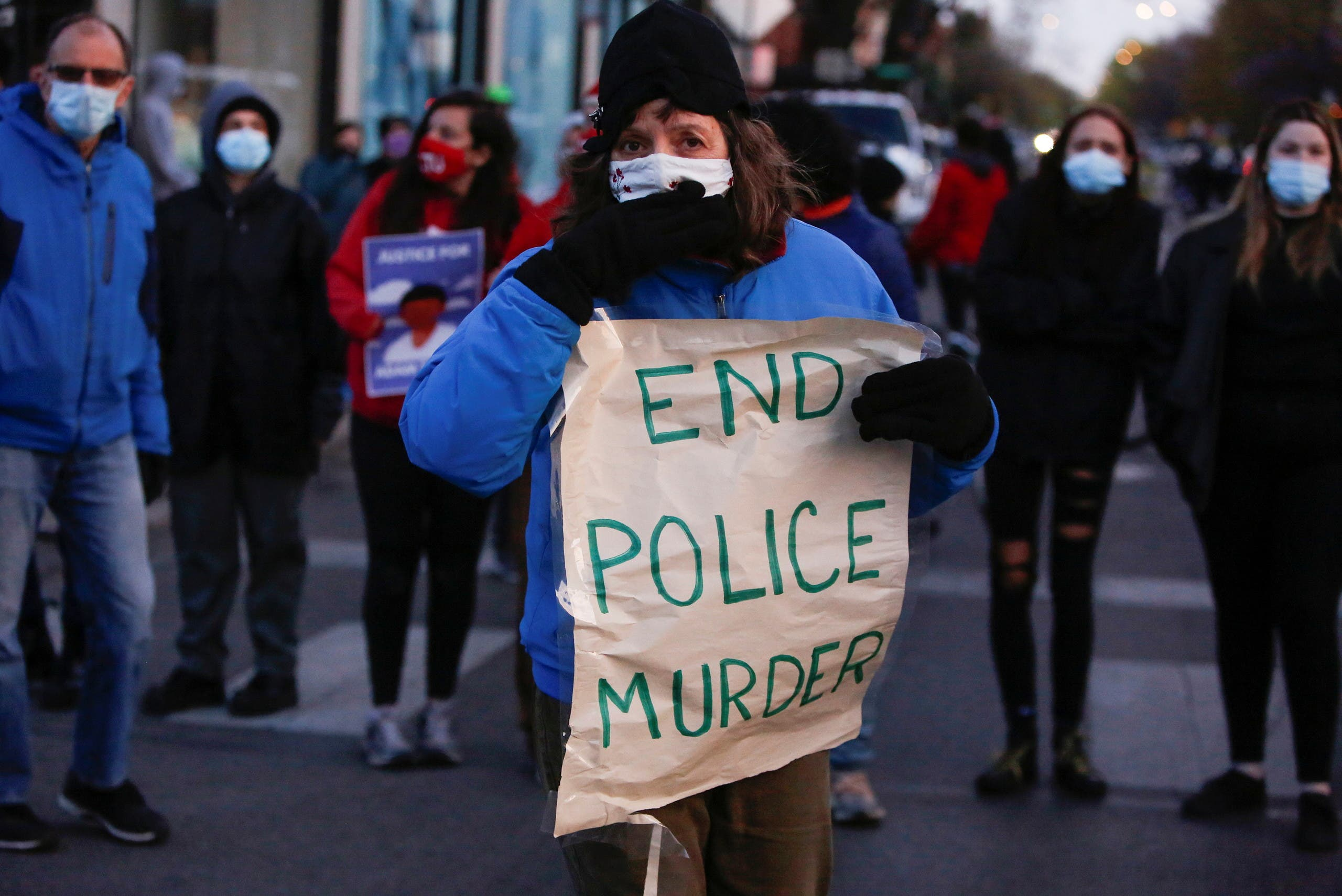 Protest in the aftermath of the death of 13-year-old-boy Adam Toledo, in Chicago. (Reuters)