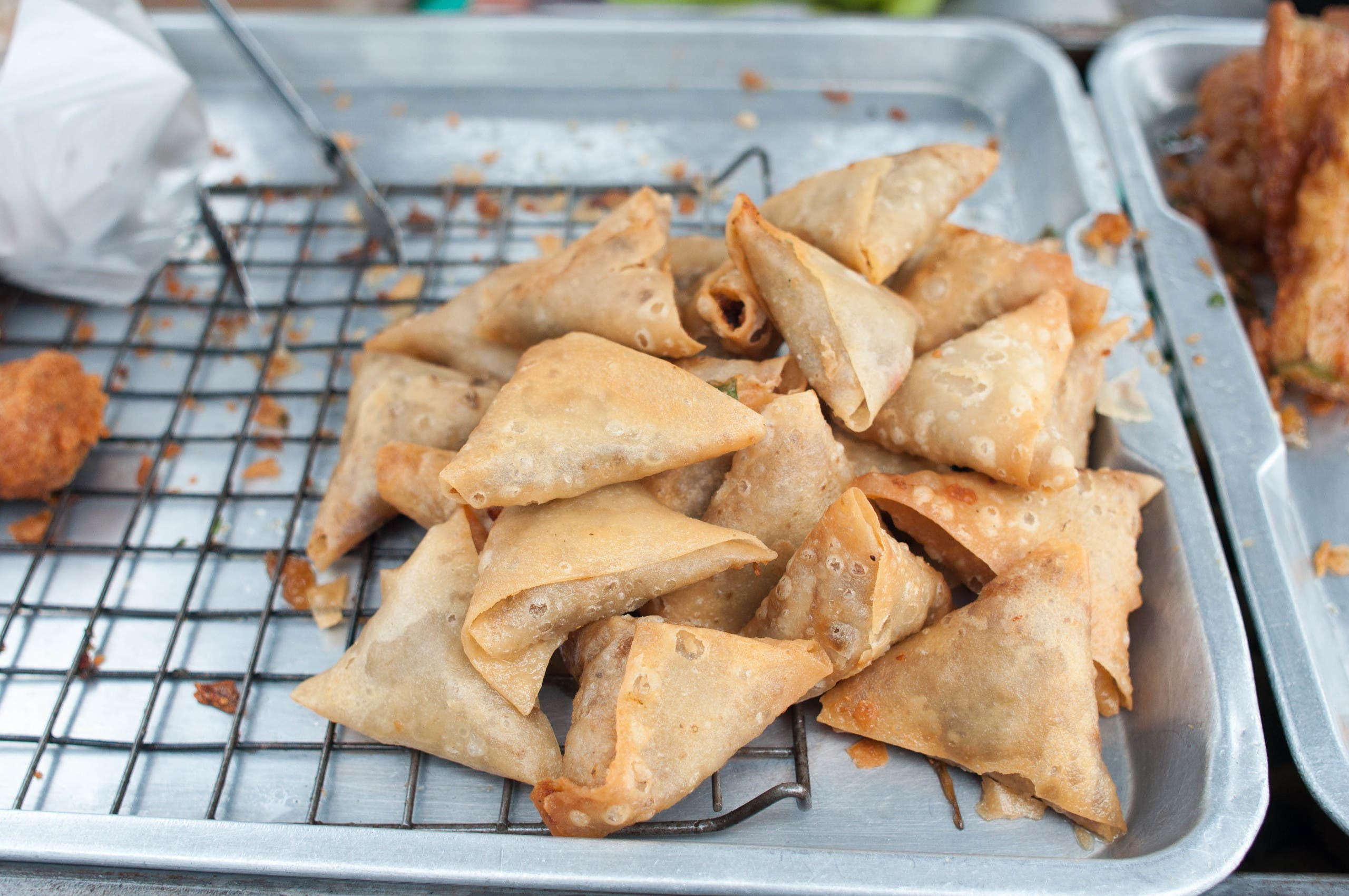 Fried Sambusa is seen in a tray. (iStock)