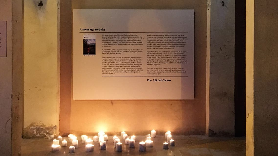 Candlelit Memorial Placcard to Gaïa Fodoulian, featuring a message from the AD Leb Team. (Image: Robert McKelvey)