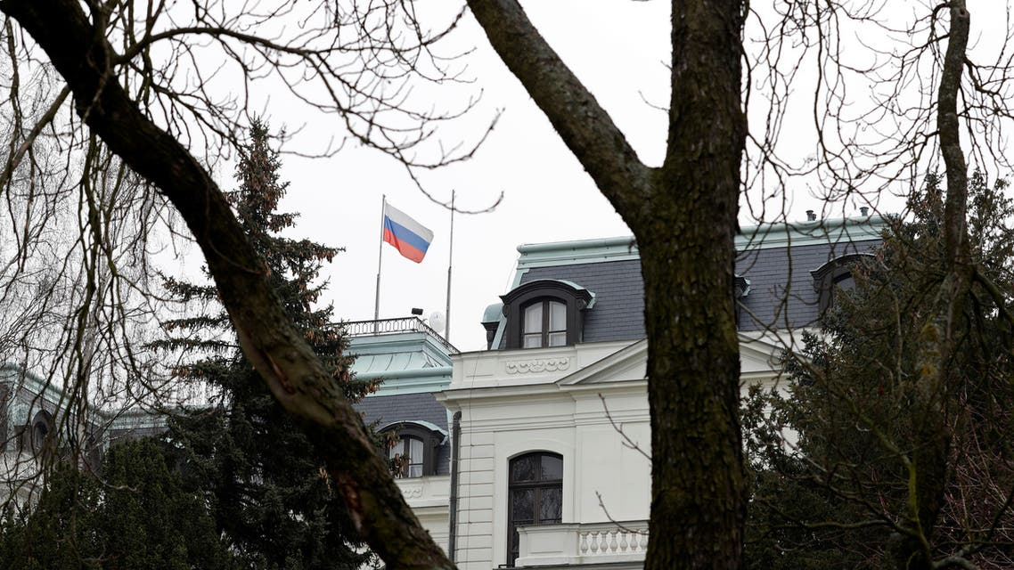 A national flag of Russia flies on the Russian embassy in Prague, Czech Republic, March 26, 2018. (Reuters)