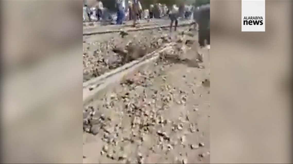 A screengrab from a social media video showing the train that derailed in Egypt's Qalyubia Governorate north of Cairo, on Sunday April 18 2021. (@osgaweesh via Twitter)