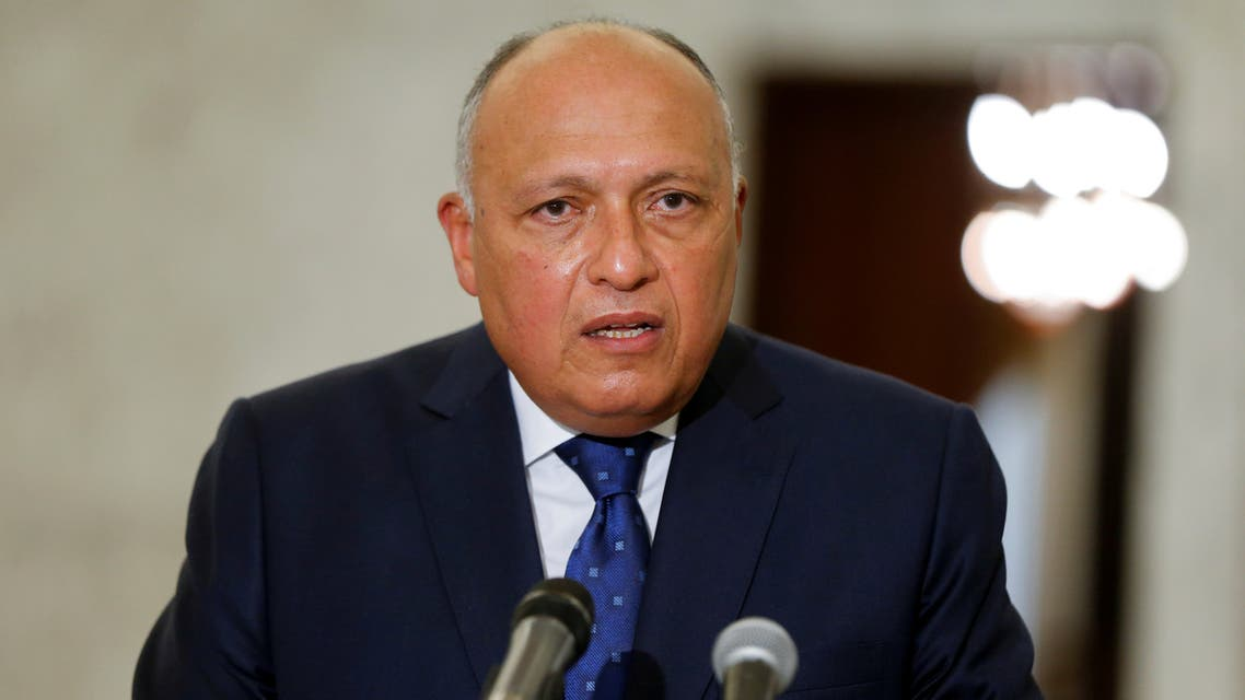 FILE PHOTO: Egyptian Foreign Minister Sameh Shoukry speaks after meeting with Lebanon's President Michel Aoun at the presidential palace in Baabda, Lebanon April 7, 2021. REUTERS/Mohamed Azakir/File Photo