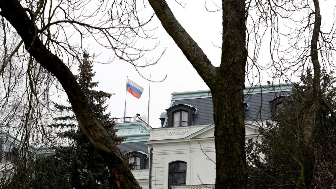 FILE PHOTO: A national flag of Russia flies on the Russian embassy in Prague, Czech Republic, March 26, 2018. REUTERS/David W Cerny/File Photo