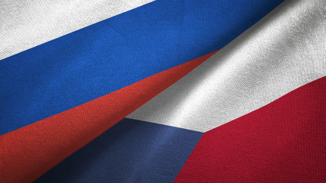 Czech Republic and Russia two flags together realations textile cloth fabric texture stock photo