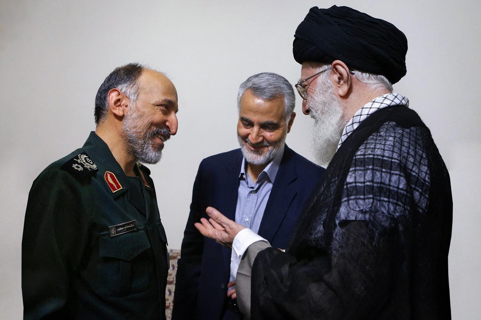 (L-R) Mohammad Hejazi, Qassem Soleimani, and Ali Khamenei in an undated photo. (Source: Khamenei.ir)
