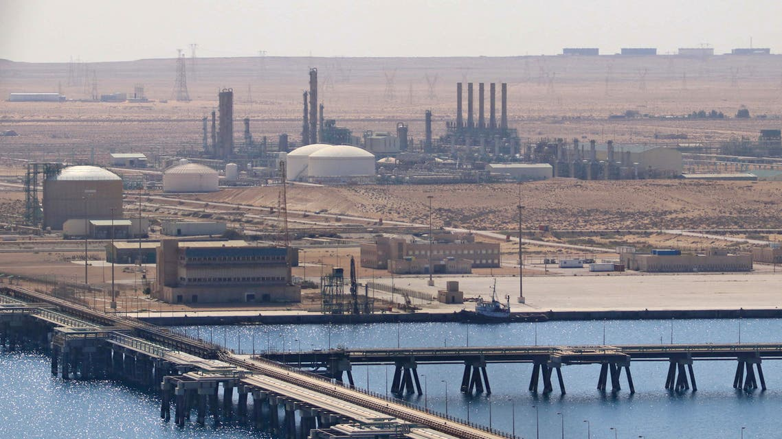 A picture taken on September 24, 2020 shows the Brega oil port in Marsa Brega, some 270kms west of Libya's eastern city of Benghazi. Libya's state oil firm lifted force majeure on what it deemed secure oil ports and facilities on September 20, a day after strongman Khalifa Haftar said he was lifting a blockade on oilfields and ports. The blockade, which has resulted in more than $9.8 billion in lost revenue according to the state-run National Oil Corporation (NOC), has exacerbated electricity and fuel shortages in the country.