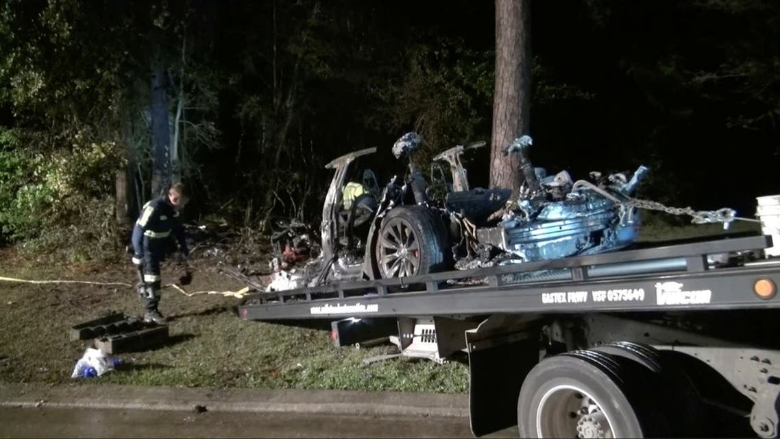 The remains of a Tesla vehicle are seen after it crashed in The Woodlands, Texas, April 17, 2021. (Reuters)