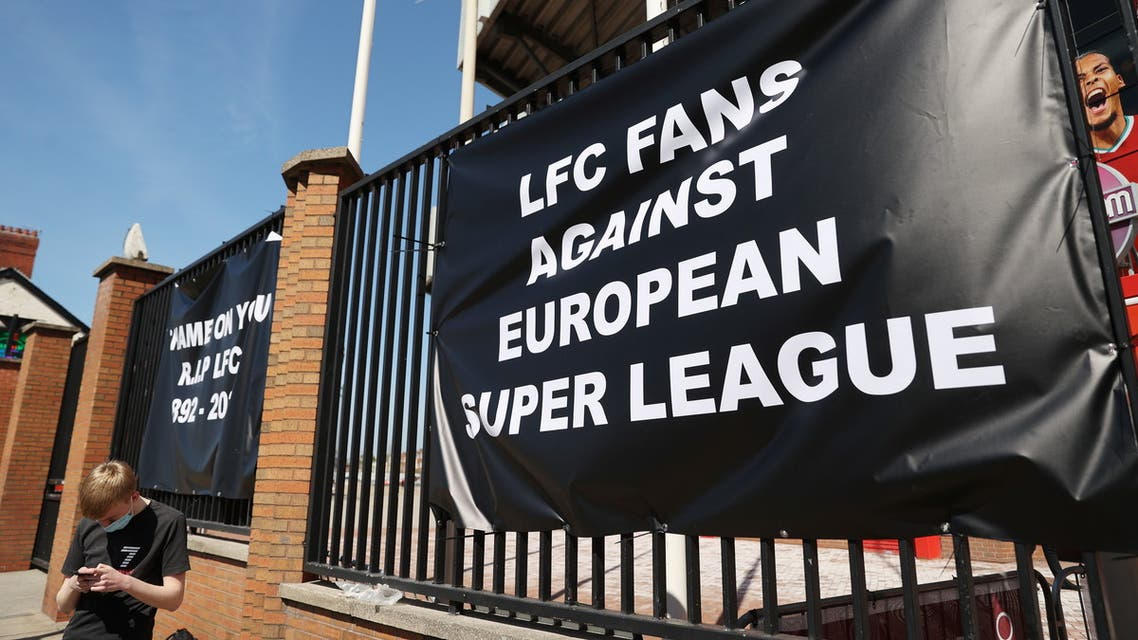 Soccer Football - An anti Super League banner is seen outside Anfield as twelve of Europe's top football clubs launch a breakaway Super League - Liverpool, Britain - April 19, 2021 (Reuters)