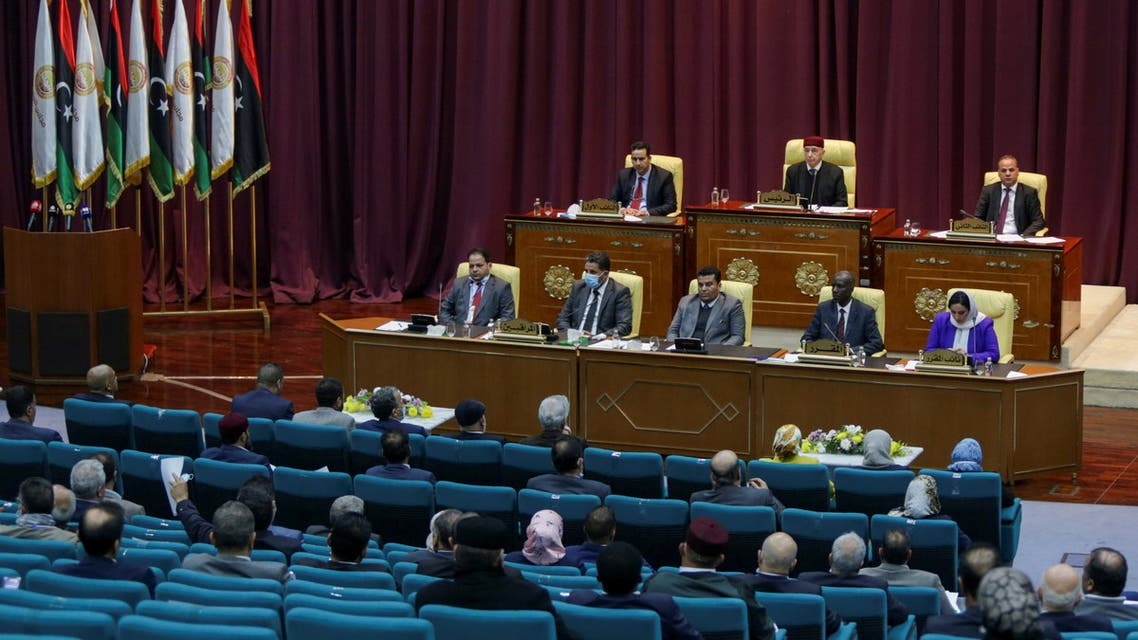 Libyan Parliament meet to discuss approving new government, in Sirte, Libya March 8, 2021. (Reuters)