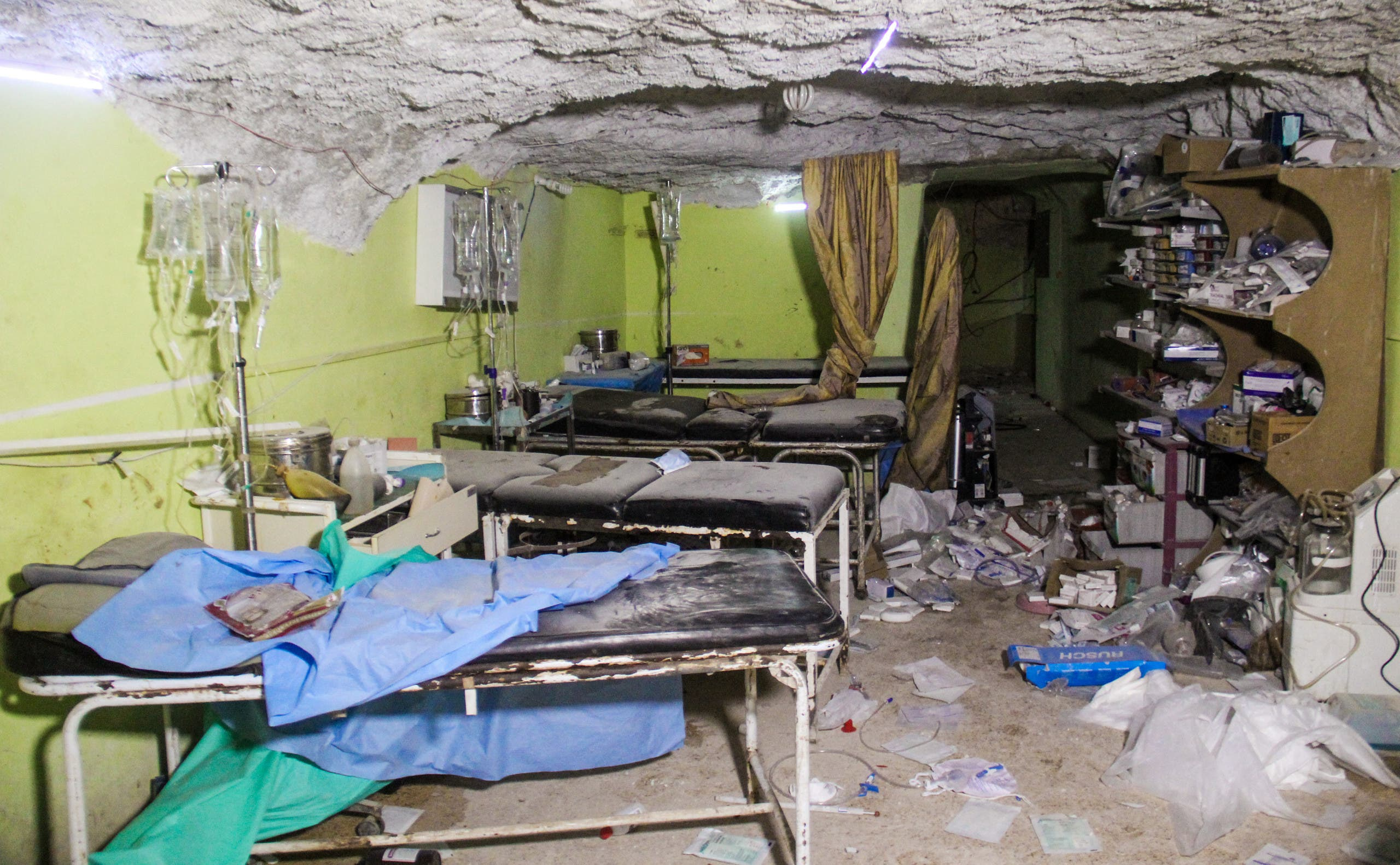 غرفة مدمرة في مستشفى في خان شيخون بعد الهجوم الكيمياوي في 2017