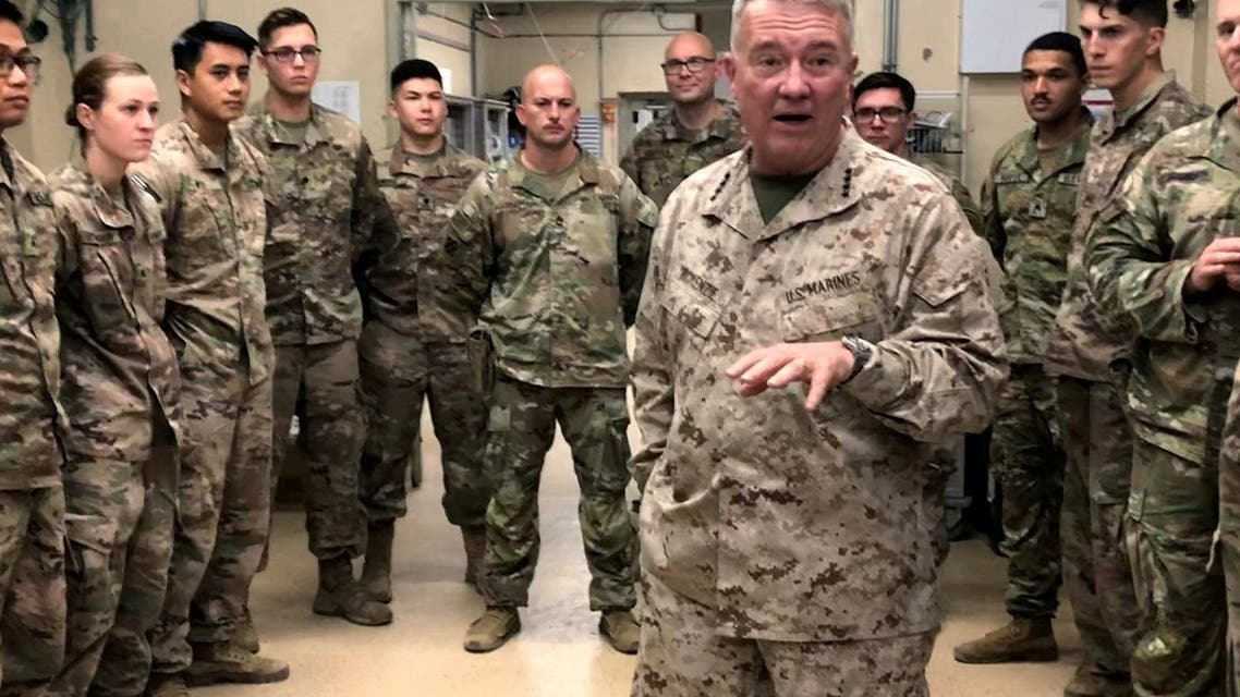 Gen. Kenneth McKenzie, head of US Central Command, speaks with US troops in Jalalabad, Afghanistan, Sep. 9, 2019. (Reuters)