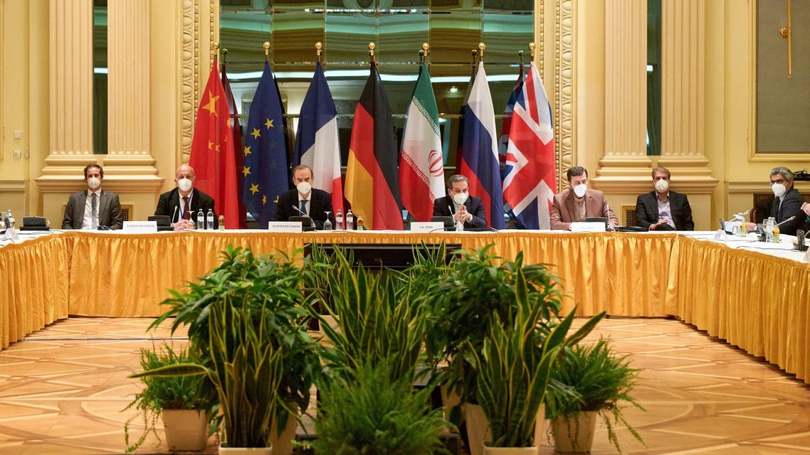 Delegation members from the parties to the Iran nuclear deal attend a meeting in Vienna, April 17, 2021. (Reuters)