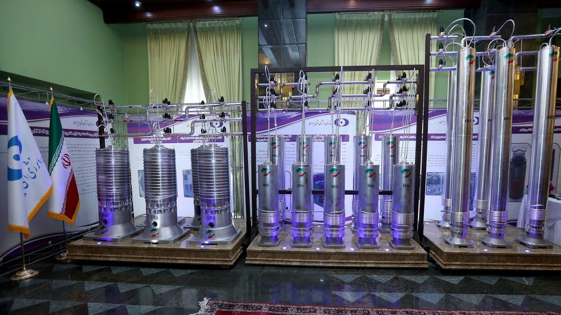 A number of new generation Iranian centrifuges are seen on display during Iran's National Nuclear Energy Day in Tehran, April 10, 2021. (Reuters)
