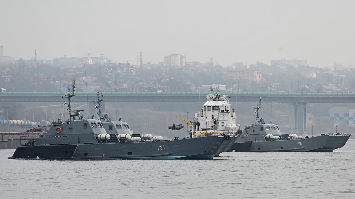 Landing crafts of the Russian Navy's Caspian Flotilla are pictured on the Don River during the inter-fleet move from the Caspian Sea to the Black Sea, on the outskirts of Rostov-on-Don, Russia April 12, 2021. (Reuters)