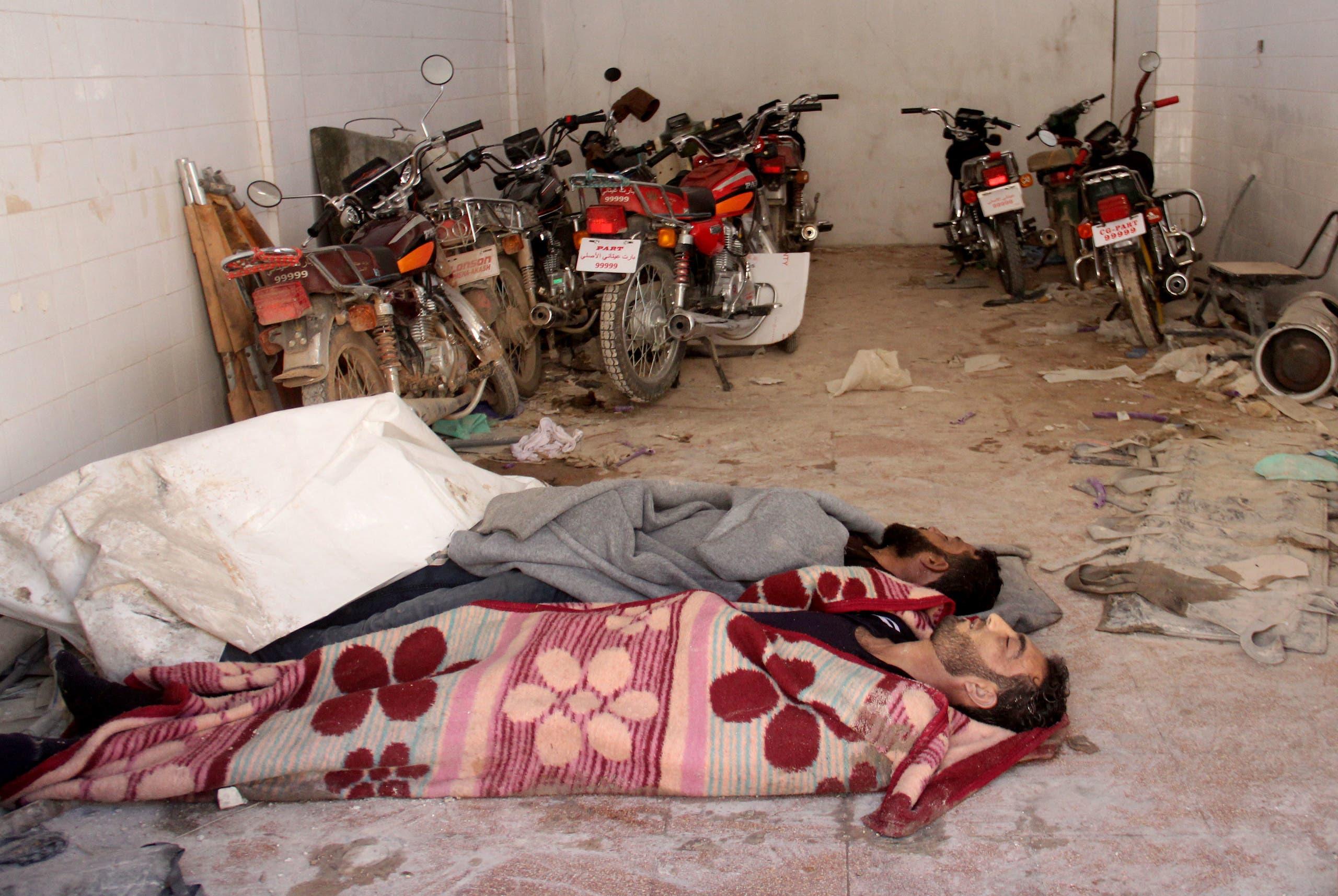 أطفال من ضحايا الهجوم الكيمياوي في خان شيخون في 2017