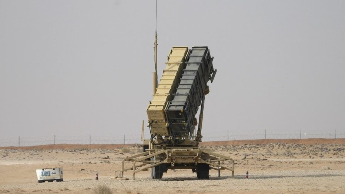 A Patriot missile battery is seen near Prince Sultan air base at al-Kharj on February 20, 2020. (AFP)