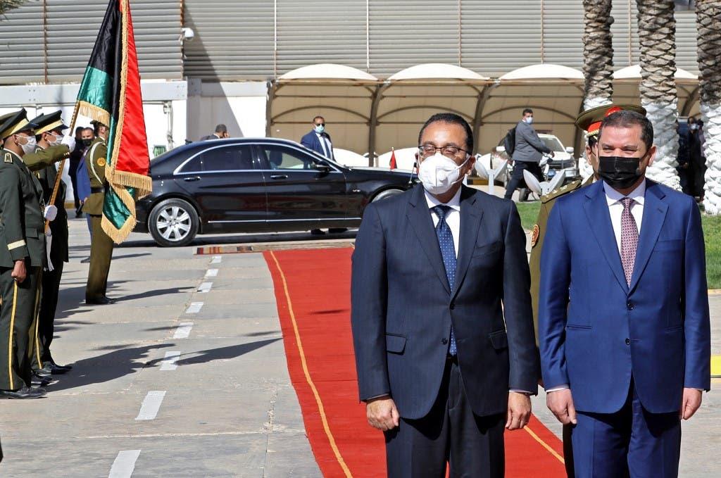 رئيس الوزراء المصري مصطفى مدبولي ونظيره الليبي عبدالحميد الدبيبة