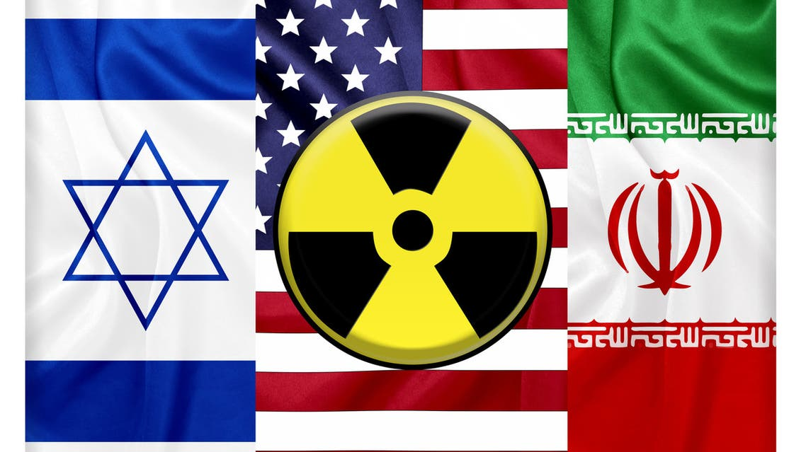 United states Iran and Israel flags with nuclear icon stock photo