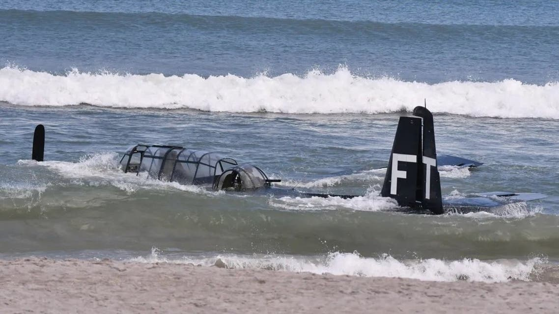 A restored World War II era plane which took part in a Cocoa Beach Air Show in Florida made an emergency landing in the ocean on Saturday April 18, 2021. (Twitter)