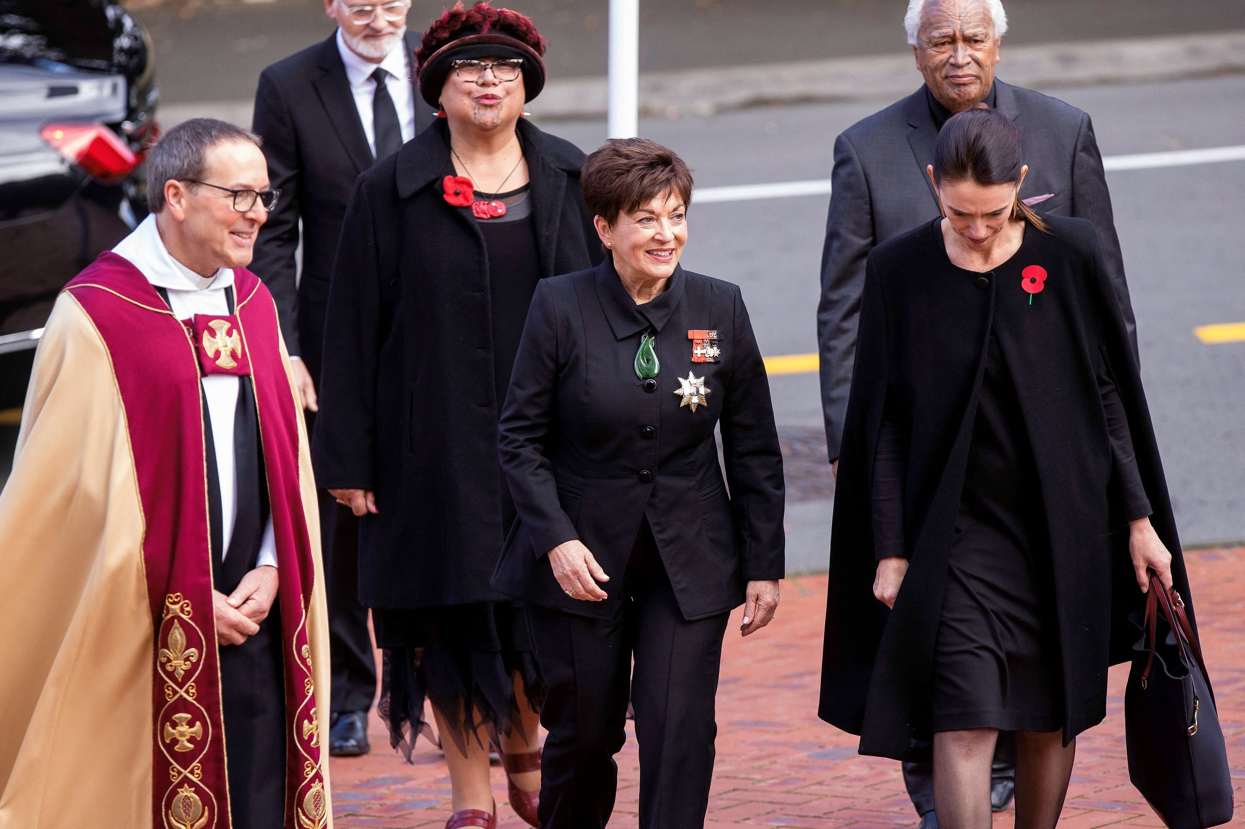 New Zealand Governor General Patsy Reddy (C) and Prime Minister Jacinda Ardern (R) arrive to attend the State Memorial Service for Britain's Prince Philip, Duke of Edinburgh at the Wellington Cathedral of St Paul on April 21, 2021. (File photo: AFP)