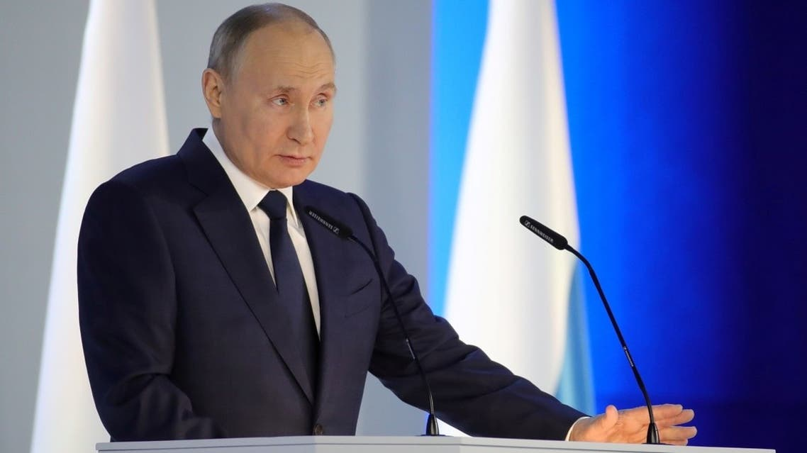 Russian President Vladimir Putin delivers his annual address to the Federal Assembly in Moscow, Russia, on April 21, 2021. (Reuters)