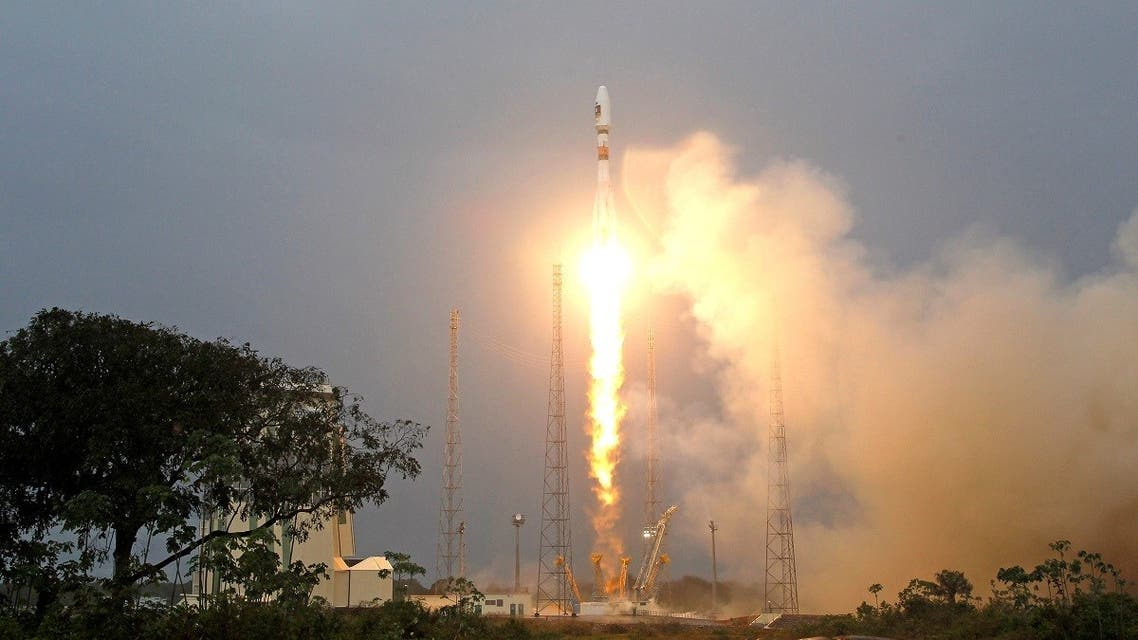 The Russian Soyuz VS01 rocket, carrying the first two satellites of Europe's Galileo navigation system, blasts off from its launchpad at the Guiana Space Center in Sinnamary, French Guiana, on October 21, 2011. (Reuters)