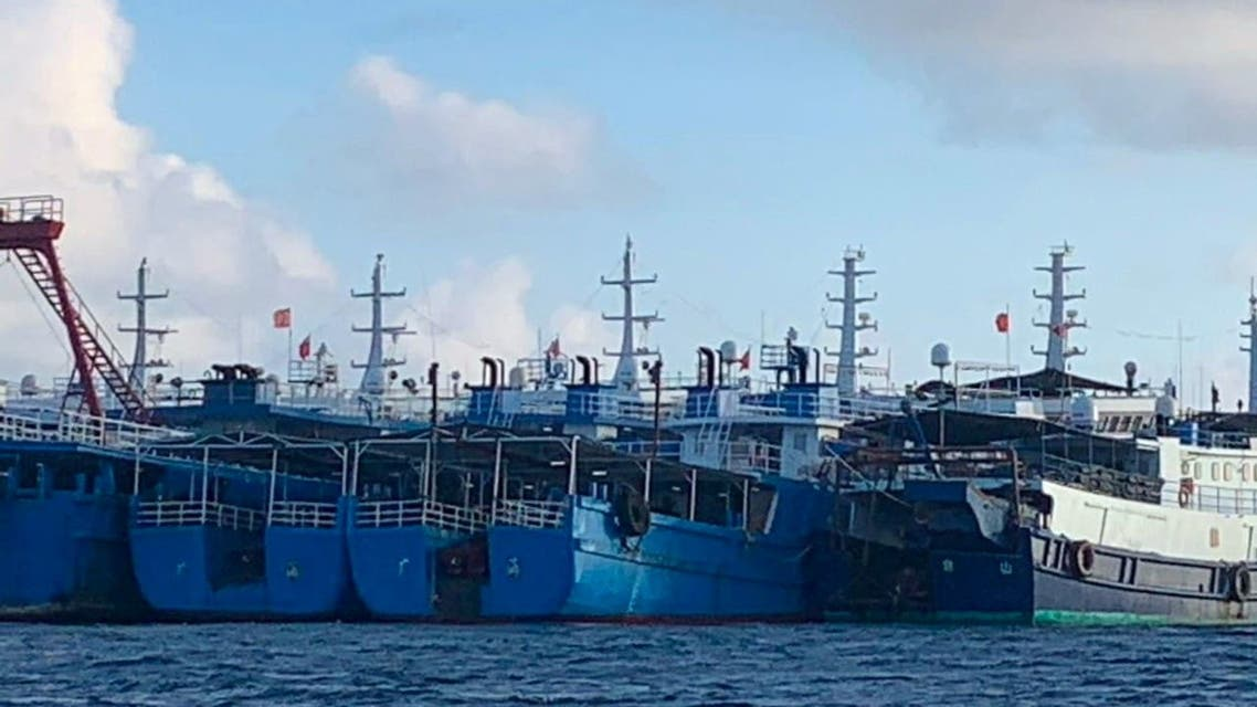 Chinese vessels, believed to be manned by Chinese maritime militia personnel, are seen at Whitsun Reef, South China Sea on March 27, 2021. Picture taken March 27, 2021. (File photo: Reuters)