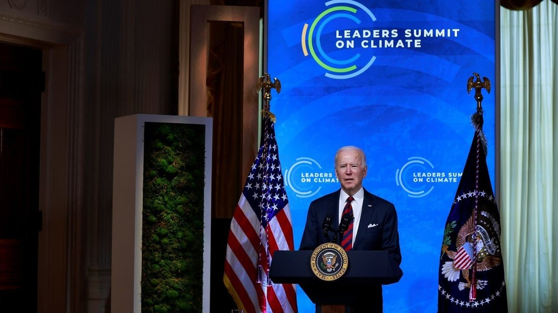 US President Joe Biden participates in a virtual Climate Summit with world leaders in the East Room at the White House in Washington, US, on April 22, 2021. (Reuters)