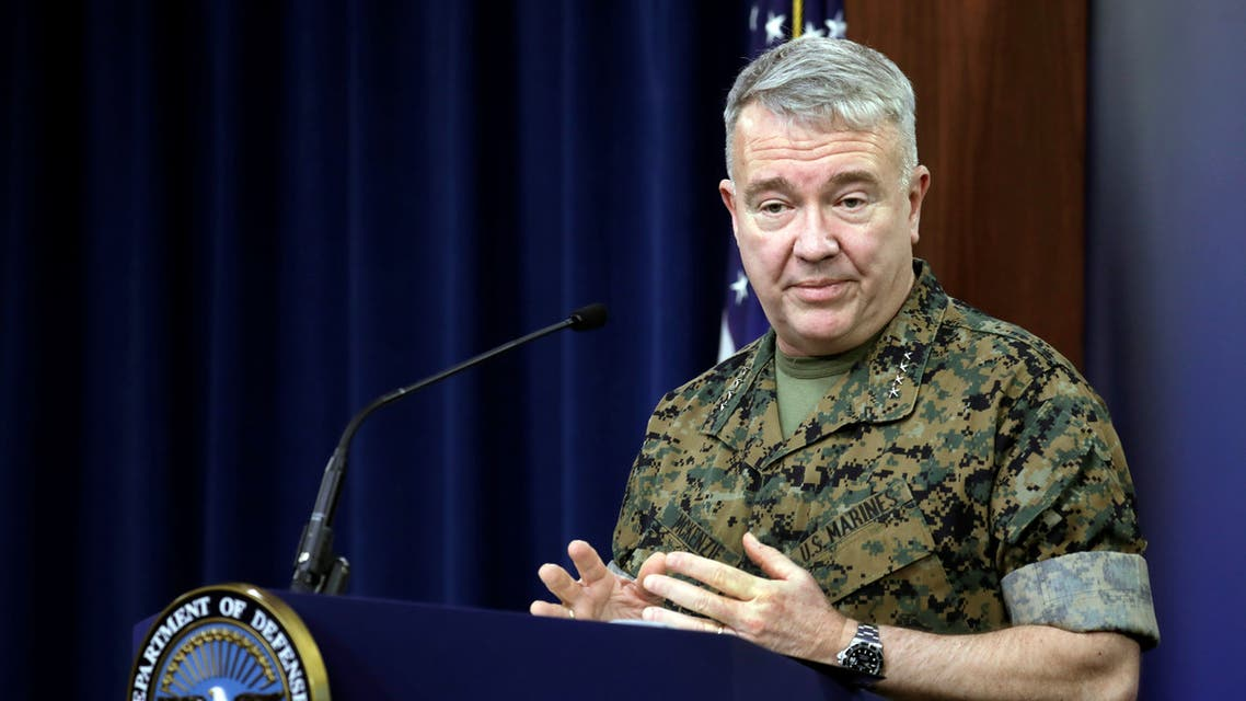 U.S. Marine Corps Gen. Kenneth McKenzie Jr., commander of U.S. Central Command (CENTCOM), briefs the media on the status of operations in the CENTCOM area of responsibility in the wake of the attacks; during a briefing at Pentagon in Arlington, Virginia, U.S., March 13, 2020. President Donald Trump authorizes U.S. military to respond to rocket attack by Iran-backed militia in Iraq that killed two American troops and British service member. REUTERS/Yuri Gripas