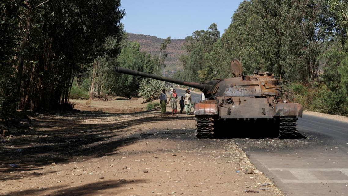 A burned tank stands near the town of Adwa, Tigray region, Ethiopia, March 18, 2021. (File Photo: Reuters)